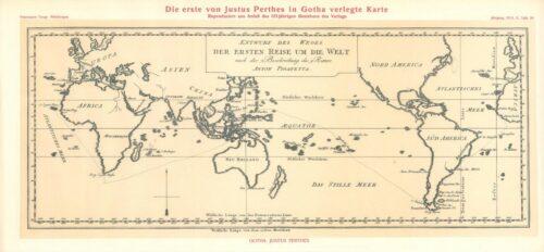 Entwurf des Weges der ersten Reise um die Welt nach der Beschreibung des Ritters Anton Pigafetta. Rechteckige Weltkarte mit dem pazfisichen Ozean im Zentrum. Auf den Meeren und entlang der Küsten ist die Route der Weltumsegelung Ferdinand Magellans eingezeichnet.