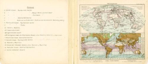 """Abteilung """"Ozeane"""" der Systematik der Kartensammlung der Sammlung Perthes. Elf Unterpunkte der Abteilung ordnen die Karten geografisch nach Ozeanen und einzelnen Inseln, aber nach Kartentypen wie physikalische Karten, Admiralitätskarten und Karten mit historischem Wert."""