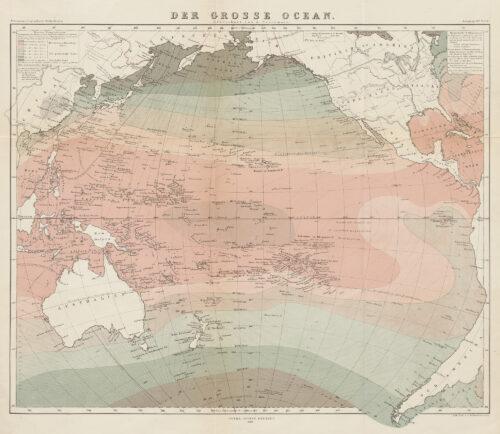 """Karte """"der grosse Ocean"""" von August Petermann. Im Zentrum der Karte steht der Pazifik. Die farbliche Gestaltung der Karte zeigt die unterschiedlichen Temperaturzonen des Ozeans. Asien, Australien und Amerika sind an den Rändern der Darstellung teilweise sichtbar."""