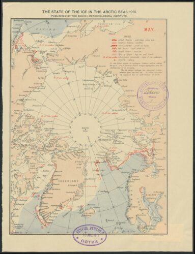 The State of the Ice in the Arctic Seas 1910. Darstellung für den Monat Mai. Die Beschaffenheit des Eises ist mit verschiedenen Symbolen eingezeichnet.