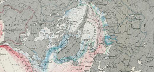 Arktischer Ozean mit Meeresströmungen 1865